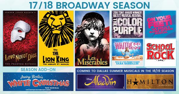 Dallas Summer Musicals 2017/2018 Season Shows at the Music Hall at Fair Park