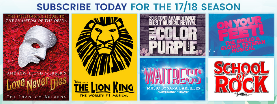 Dallas Summer Musicals 17/18 Season 6-Show Packages, The Color Purple, On Your Feet!, Waitress, The Lion King, Love Never Dies, School of Rock