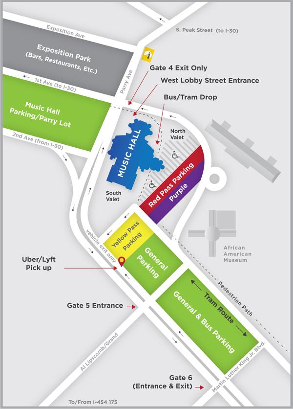 Dallas Summer Musicals Parking Map