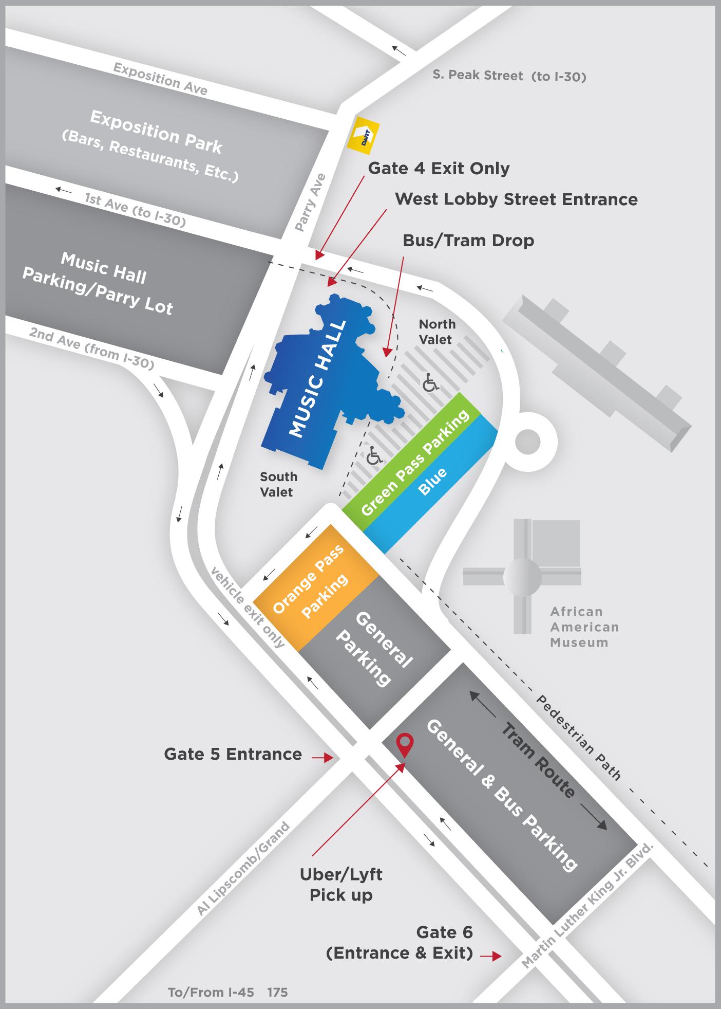 18/19 Dallas Summer Musicals Parking Map