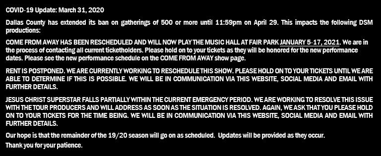 DSM Announcing the 20/21 Dallas Summer Musicals Season